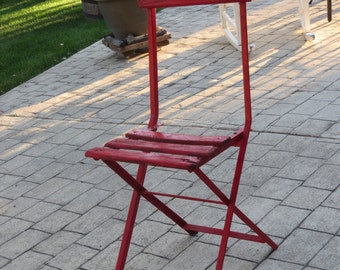 Red French cafe/bistro folding chair iron strong, French country/farmhouse, terrace fresco