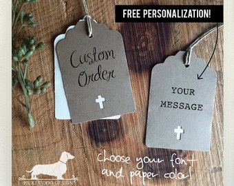 Natural Cross. Personalized Gift Tags (Set of 12) -- (Vintage-Style, Baptism Gift Tags, Christening Tags, Baby Shower, Thank You, Custom)