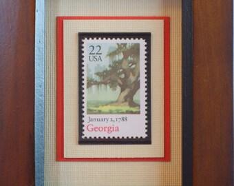 Vintage Framed Postage Stamp - Georgia - An Original Colony - No. 2339