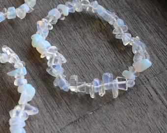Opalite Chip Stretchy String Bracelet B58