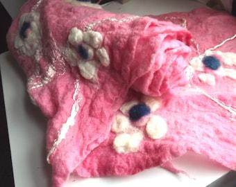 Fashion Gift Pink Felt Scarf, Wrap, Merino Wool Scarf, Women, Sakura Scarf, Cherry Blossom, Cobweb, Ecofriendly , Felted, Fashion, Gift