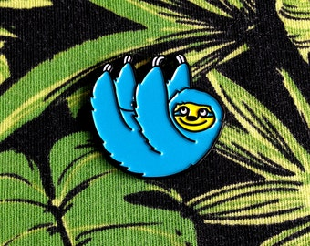 Sloth Enamel Pin, Cute Sloth Lapel Pin, hello DODO Blue Buddy Sloth Pin Brooch, Happy Sloth Pin, Cute Animal Pin, Soft Enamel Lapel Pin