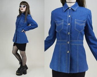 90s Does 70s Blue Denim Look Button Through Contrast Stitching Jacket S