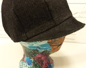 Black Denim Rocker Hat