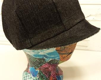 Recycled Black Denim Newsboy Hat
