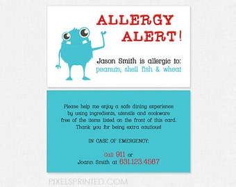 allergy alert DELUXE cards - color both sides - FREE UPS ground