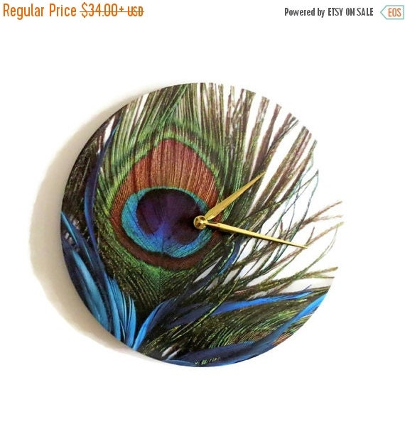 Sale Peacock Wall Clock Unique Wall Clock Decor And Housewares Home Decor Colorful Feather