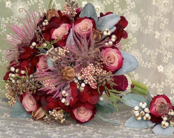 Wedding Bouquet FREE Boutonniere Preserved Rose Red Pink