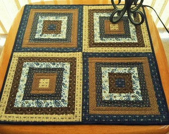 QUILT Fall Autumn TABLE RUNNER for sale in Civil War prints Blues, Creams and shades of Browns handmade wall hanging
