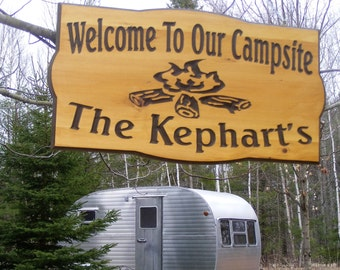 Camping sign Personalized  Cedar Carved Wood Sign  Trees and Stone campfire You can choose  your wording