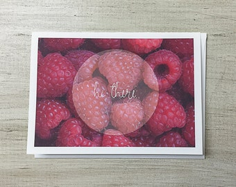 Greeting Card Hi There| Blank Card | Just Because | Raspberries | Red
