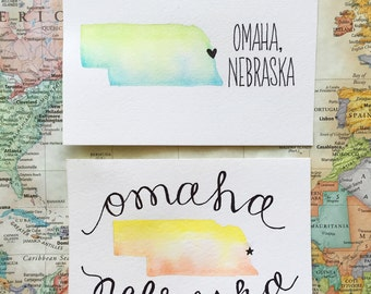 Custom Hometown State Watercolor Art