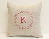 Personalized cushion pillow Monogrammed family pillow Oatmeal linen pillow Monogram pillow embroidered pillow Decorative pillow