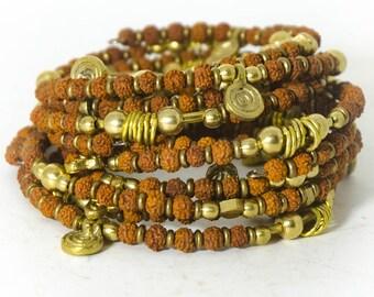 Rudraksha and Brass Memory Wire Wrap Bracelet Set Shiva Tears Set of 5 Bracelets