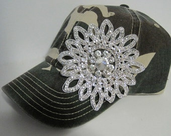 Camouflage Trucker Baseball Cap Hat with Gorgeous All Rhinestone Flower Accent