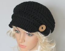Crochet Womens Hat,  Very Soft, Chunky, Buttons, Newsboy, Warm, Teens, Winter, Ski Hat,any color