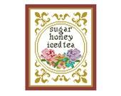 Sugar Honey Iced Tea Cross Stitch Pattern - Funny Cross Stitch - PC Curse Word Cross Stitch Pattern - Modern Cross Stitch Pattern