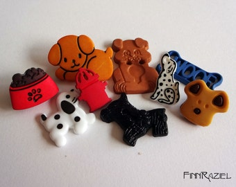 buttonset dogs with bowl and various dogs