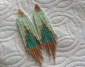 4in Mint Teal Gold delica hand beaded Chic Boho Hippie Native style dangle earrings