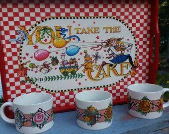 Mary Engelbreit Tray and Mugs, Vintage Mary Englebreit, Mary Englebreit Mugs, Mary Englebreit Serving Tray