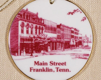 Franklin, TN, Ornament, Main Street I in Burgundy Porcelain