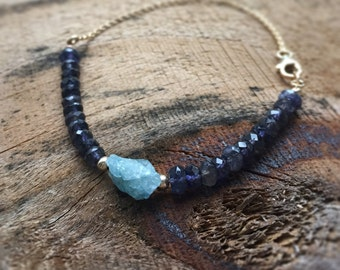 Gemstone Beaded Bracelet Water Sapphire & Aquamarine Gems Gift for Women Anniversary Gift Dainty Thin Bracelet Blue Gems