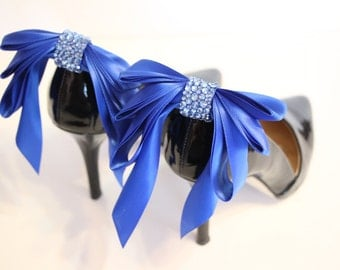 ROYAL BLUE  Bow Shoes clips -    blue shoe clips with rhinestones - blue triple bow shoe clips
