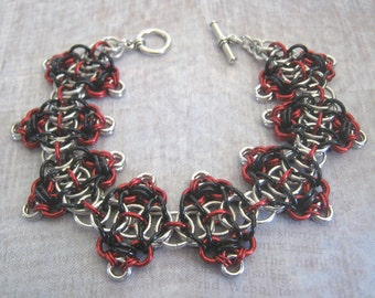 Harlequin Bracelet Chain Maille Black Red and Silver Anodized Aluminum Jewelry