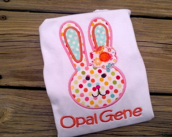Easter BUNNY Shabby flower Applique SHIRT Personalized boutique girls hairbow Boy or girl