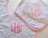 Pink Border Terry Bibs and Burp Cloths - Monogrammed