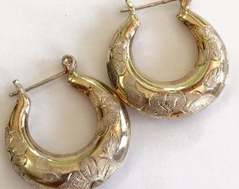 Engraved Hoop Earrings, Vermeil, Sterling Silver, Vintage Jewelry, SUMMER SALE