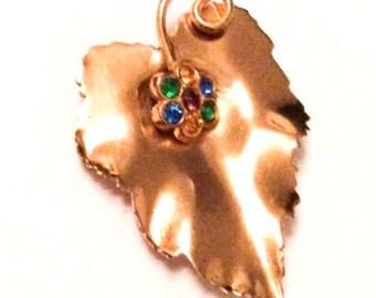 Rhinestone Leaf Fur Clip, Sterling Silver, MEXICO, Vintage Jewelry, SUMMER SALE
