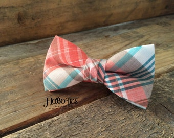 Coral and Mint Madras Plaid Boys Bow Tie~Boys plaid tie-Boys Bow Tie~Boys Bowtie~Boys Tie~Wedding Tie~Cotton Bow Tie~Pre-Tied Tie