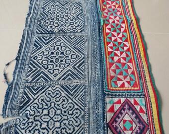 Handwoven cotton Vintage fabrics,  Indigo Blue, Hmong, Table runner- from Thailand