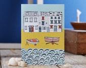 Life by the Sea greetings card - stylish design led stationery - coastal card - seaside greeting card - designed by Jessica Hogarth