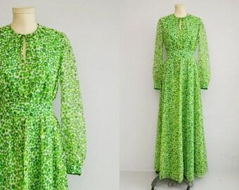 Vintage 70s Maxi Dress / 1970s Sheer Polka Dot Chiffon Hostess Dress / Mod Green White Print