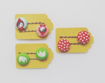 SHOP CLOSING SALE  Set of Three - Little Red Riding Hood fabric Button Bobby Pin - Little Red Apple - Elephant Bobby Pin - Girls Hair Pin