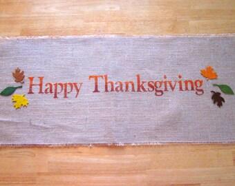 Burlap table runner, autumn decor, fall runner, thanksgiving table runner,shabby chic runner, rustic burlap table runner, farmhouse decor