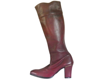 Vintage Obxblood Boot 70s Boot Oxblood Leather 1970s Boot High Heel Boot Retro Boot Tall Boot Women Boot Size 8 Women Shoe Size 8 Bohemian
