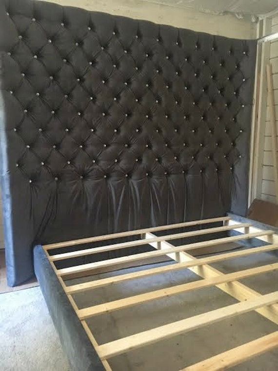 Diamond Tufted Concave Wingback Headboard And Bed Frame Set - Diamond tufted steel grey velvet wingback headboard king extra tall
