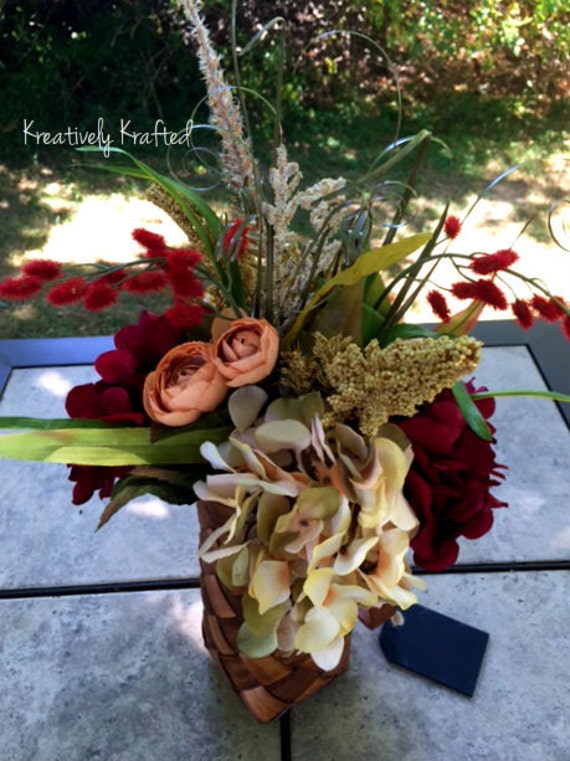 Items similar to small basket autumn centerpiece fall