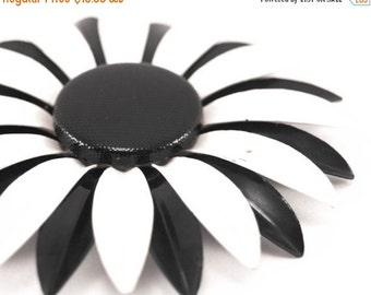 Vintage Enamel Flower Brooch Large Black and White Mod Daisy Pin 1960s