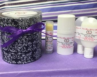 Facial Toner, Cleanser, Cream, and Lip Balm Gift Sample Set
