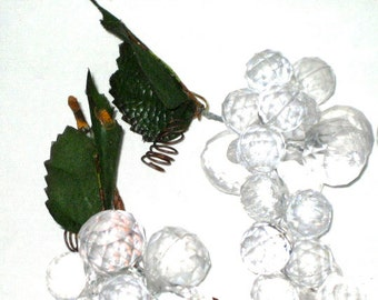 Vintage lot of 3 plastic lucite grapes clear bunches of grapes fruit re purpose crafting