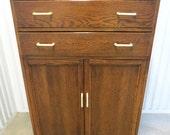 Antique Art Deco Tiger Oak Golden Oak Highboy Chest of Drawers Dresser Linen Press Tall Boy High Boy Bakelite Plastic Drawer and Door Pulls