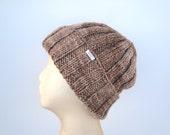 Merino Wool Beanie, Hand Knit Hat, Watch Cap Length, Slouchy Beanie Hat, Loose Rib Cap, Men & Women