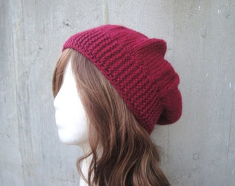 Red Slouch Hat, Knit, Slouchy, Tam, Beret, Beanie, GIFT FOR HER