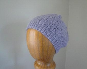 Women's Knit Hat, Lavender Purple, Alpaca Wool, Beanie Cap, Lace Design