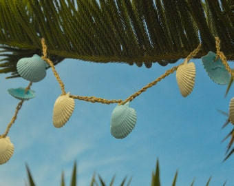Beach Wedding Garland,  Lt. Blue Seashell Garland, Beach Wedding Decorations, 7 ft.