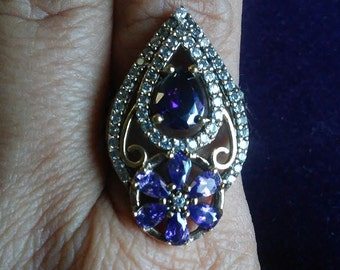 Gorgeous Turkish Amethyst Filigree with White Topaz Ring